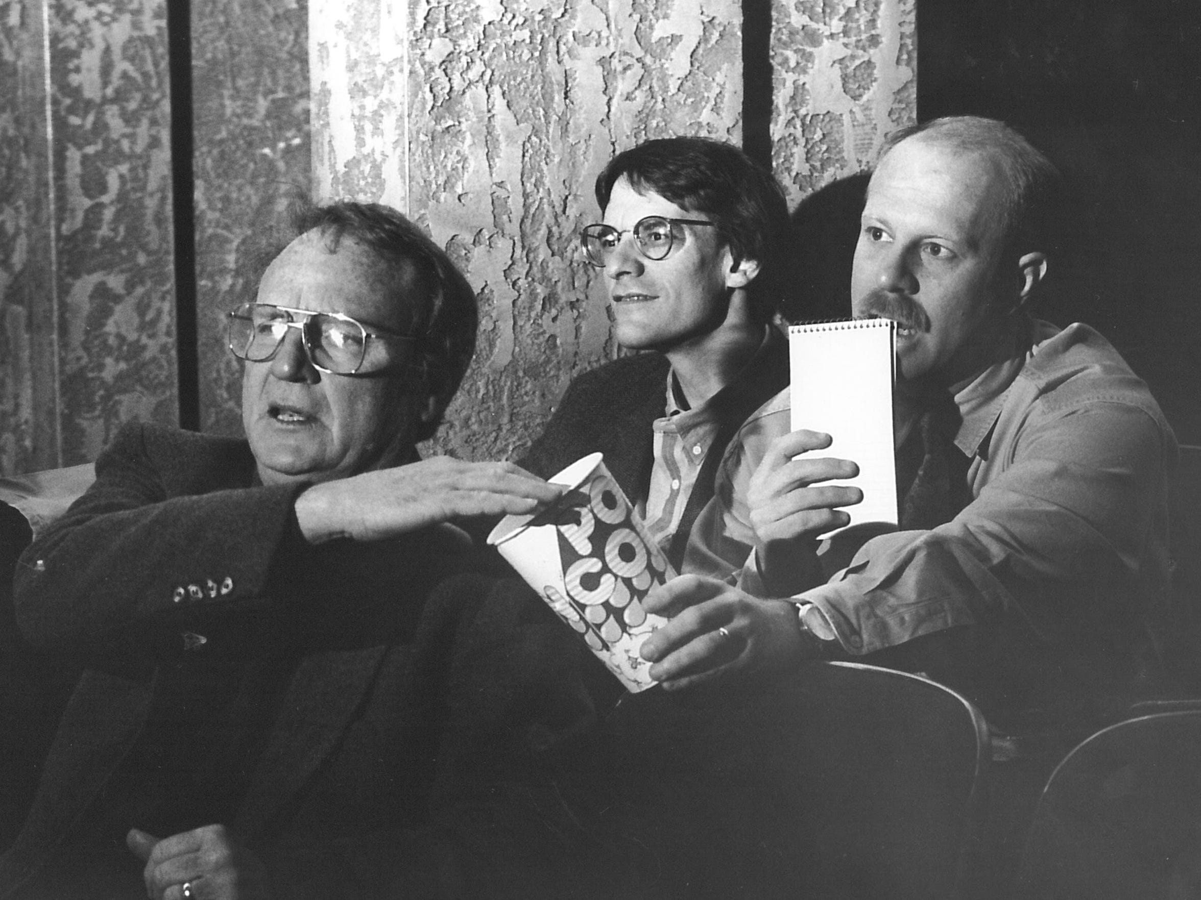 The three movie amigos, circa 1994: Bob Lapham, Richard Horn and Greg Jaklewicz reviewed films for the Reporter-News, always with popcorn near.