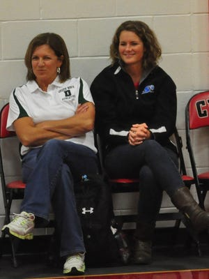 Kelly Harte, right, pictured with her mom, Colleen Harte, during a Dover High School volleyball scrimmage in 2013, is the new head coach of the Spaulding High School volleyball team.