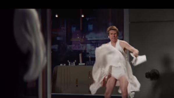 Willem Dafoe stands in for Marilyn Monroe on the set of The Seven Year Itch during this new Snickers ad that will play during Super Bowl 50.