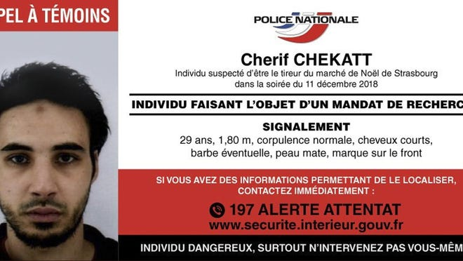 This photo provided Thursday, Dec. 13, 2018 by the National Police shows the wanted notice for Cherif Chekatt, the suspect in the Strasbourg attack. French security forces were trying to catch the suspected Strasbourg gunman dead or alive, an official said Thursday, two days after an attack near the city's Christmas market.