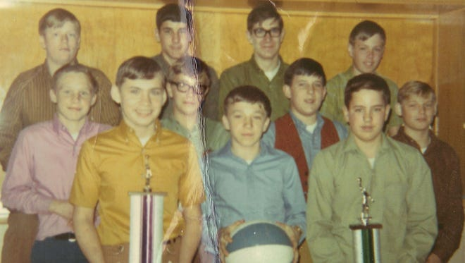 Members of the 1968 Mishicot Holy Cross Grade School basketball team included: front row from left, Bob Krejcarek, Jerry Nejedlo and Mike Leroy; middle row from left, Ed Skwor, Dan Heinrick, Jon Krause and John Kellner; and back row from left, Dale Gorzlanzyk, Jim Duprey, Jim Haese and Bob Zima.