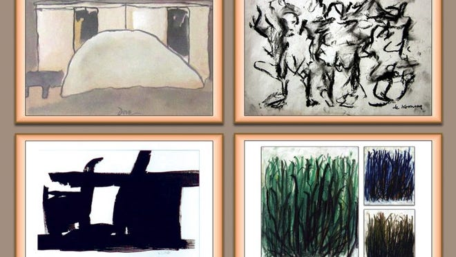 Eric Ian Hornak Spoutz offered fake works like these for sale, accompanied by forged paperwork to make them appear authentic. Spoutz offered works attributed to (clockwise from top left) American artists Arthur Dove, Willem de Kooning, Joan Mitchell, and Franz Kline.