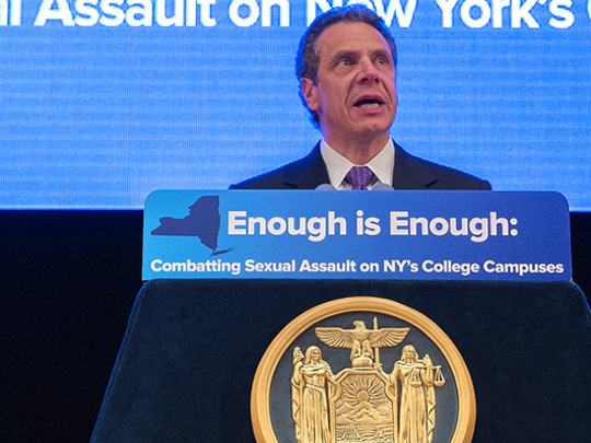 Gov. Andrew Cuomo championed legislation aimed at combatting sexual assault on New York's college campuses.