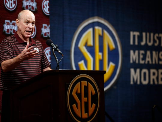 Mississippi State head coach Ben Howland speaks during the Southeastern Conference NCAA college basketball media day, Wednesday, Oct. 16, 2019, in Birmingham, Ala. (AP Photo/Butch Dill)