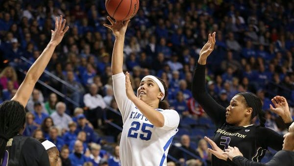 UK's Makayla Epps attempts a shot in a Sweet 16 game against Washington at Rupp Arena on March 25, 2016.