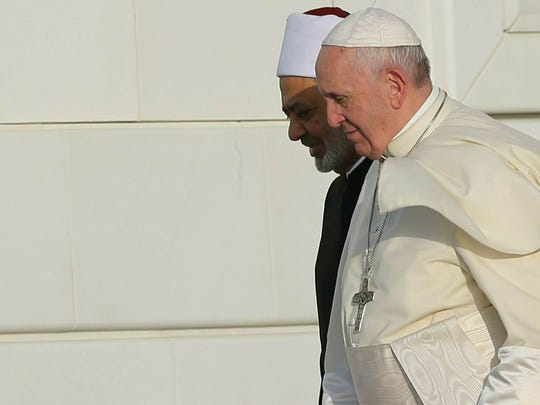Pope Francis, right, and the Grand Imam of Al Azhar