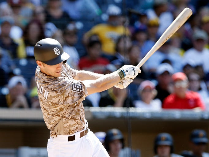 San Diego Padres' Dusty Coleman swings through for
