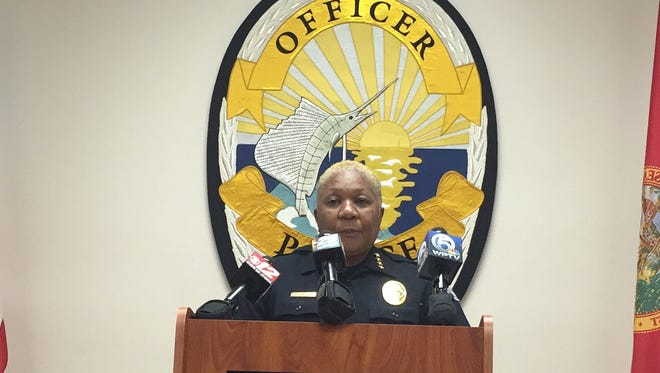Fort Pierce Police Chief Diane Hobley-Burney discusses the firings of two officers Friday, May 5, 2017 at the Police Department.