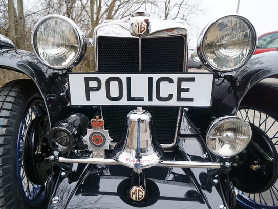 The front end of the restored 1934 MG police car.