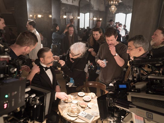 Kenneth Branagh gets his Hercule Poirot mustache shaped up on the set of 'Murder on the Orient Express.'