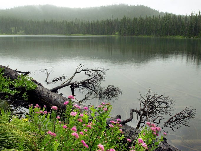 Santiam Lake, high in the Mount Jefferson Wilderness, is the source of the North Santiam River. The lake sits at 5,124 feet above sea level about two mile west of Three Fingered Jack.