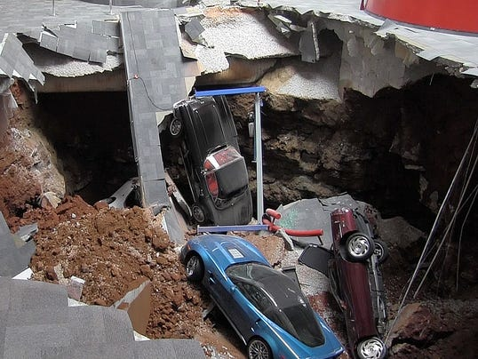 Watch Sinkhole Swallow 8 Corvettes At Museum