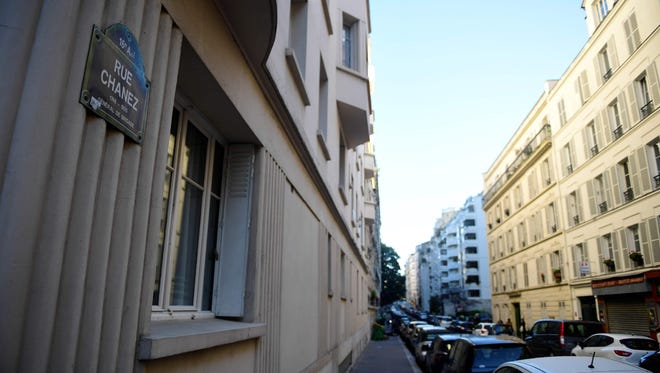 A picture taken on Oct. 3, 2017 in Paris shows the street where French police discovered a homemade bomb the day before.
