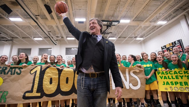 Pascack Valley girls basketball coach Jeff Jasper celebrates his 1,000th career win on Thursday, January 11, 2018 at Pascack Valley High School.