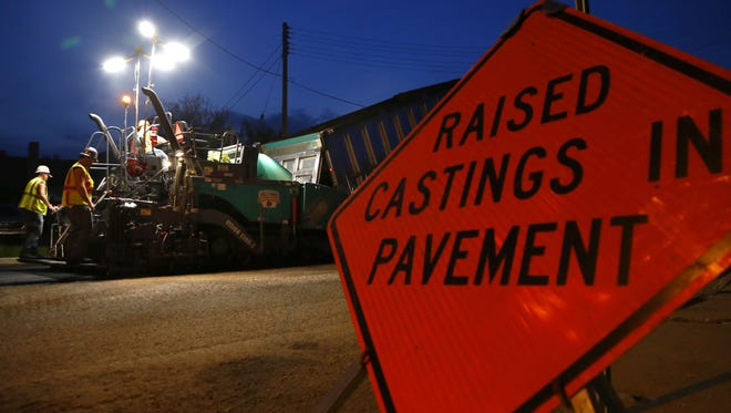 Brian J. Smith/News Journal Construction crews continue to work throughout the night repaving downtown streets.