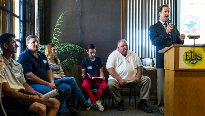 Racing Secretary Dan Bork (right) announces live racing dates and special events for the upcoming 95th meet as Corey Lanerie (left to right), Buff Bradley, Christy Hamilton, Robby Albarado, and John Hancock sit by him during a media day event held in the Gardenia Room at the Ellis Park clubhouse in Henderson, Ind., on Tuesday, June 20, 2017. The meet will begin on Saturday, July 1, and last through Labor Day, September 4.