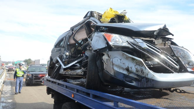 Two people were seriously injured when their vehicle collided with a semi Tuesday.