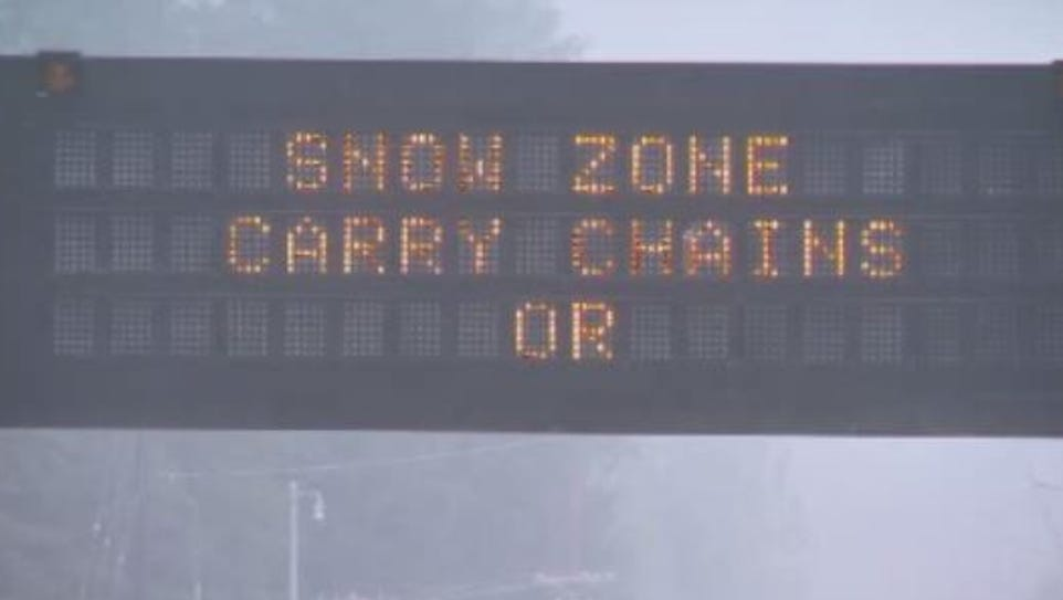 ODOT warned drivers to be ready for snow on mountain