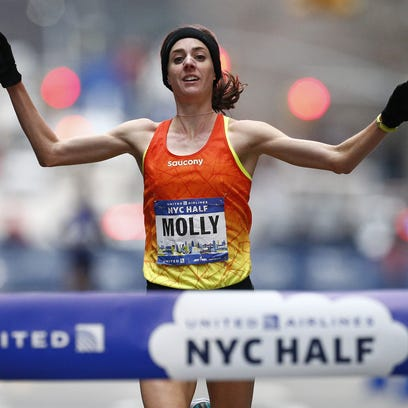Molly Huddle wins the women's race at the New York