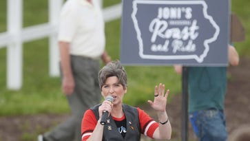 U.S. Senator Joni Ernst greets the crowd at the first ever Roast and Ride, a fundraiser for Iowa senator Joni Ernst, on Saturday, June 6, 2015 at the Central Iowa Expo grounds in Boone.