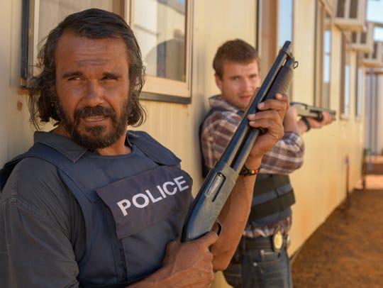 """Aaron Pedersen (left) and Alex Russell star in """"Goldstone."""""""