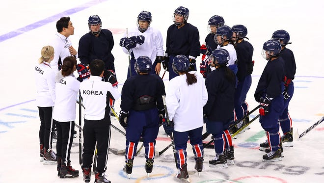 The Korea women's hockey team during a training session.