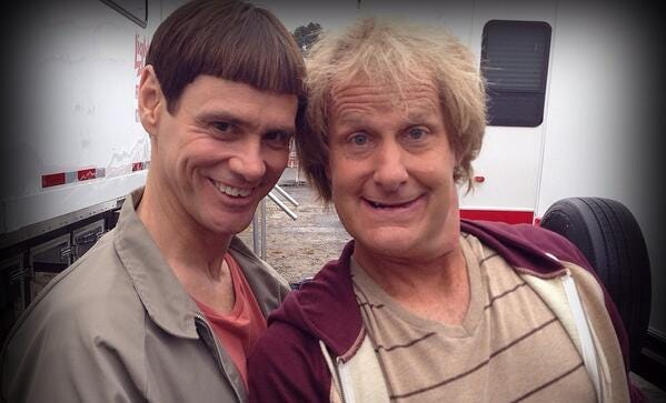 Jim Carey and Jeff Daniels pose in costume from set of 'Dumb and Dumber To,' posted by Daniels on Twitter.