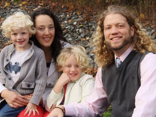 The Van Osten family includes (from left) Liam, 4; Tina; Matteo, 8; and Randy.