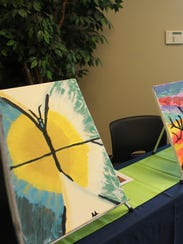 Girl Scout art was a big draw of the silent auction,