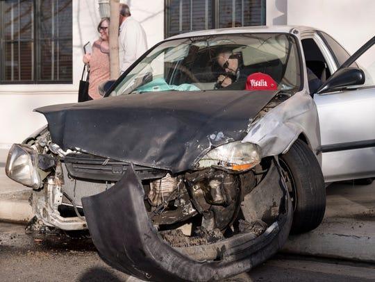 Visalia Police investigate a collision after a brief