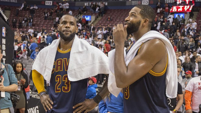 Cleveland Cavaliers forward LeBron James and Cavaliers center Tristan Thompson celebrate after Game 4 of the second round of the 2017 NBA Playoffs.