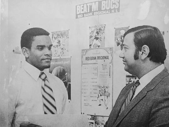 Red Bank receiver Lonnie Allgood (left) and head coach Bob Strangia in 1971.