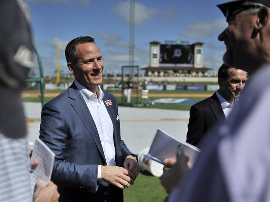 Tigers owner Chris Ilitch speaks with the media before a spring-training game against the Baltimore Orioles in February in Lakeland, Florida.
