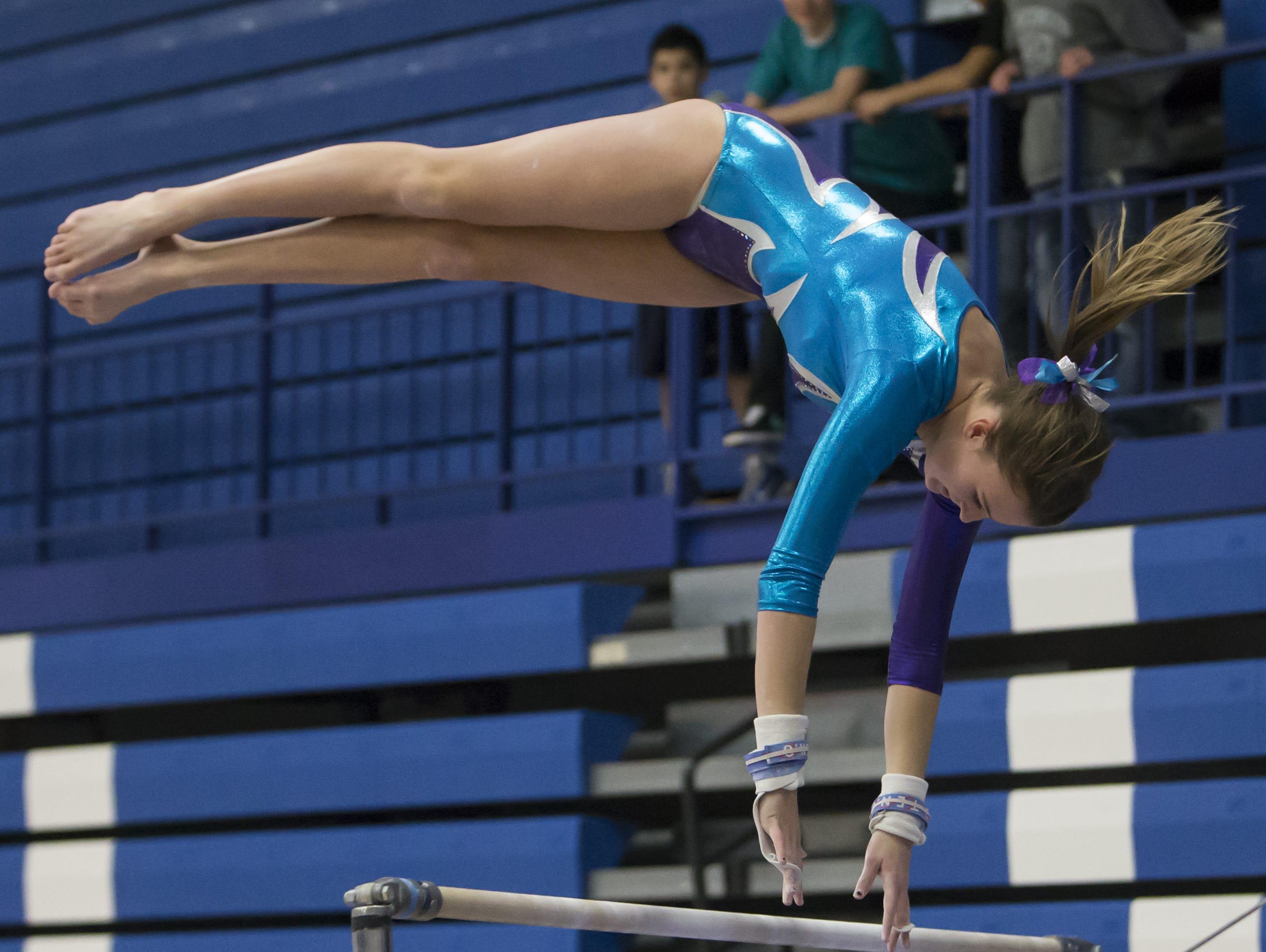 Gabriella Tagliapietra is one of two seniors who will be leading a youthful Oshkosh co-op gymnastics team this season.