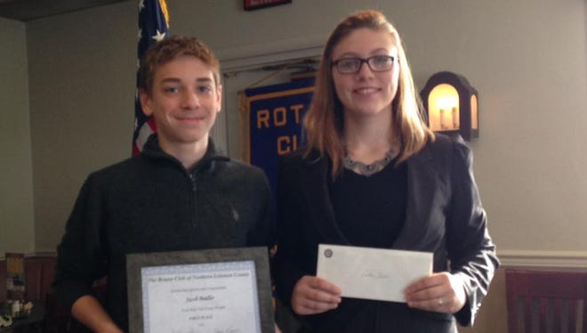 At a recent meeting, the Rotary Club of Northern Lebanon honored students Jacob Beidler, ninth grade 4-Way Test Essay Contest Winner and Lindsey Smith, senior scholarship recipient.