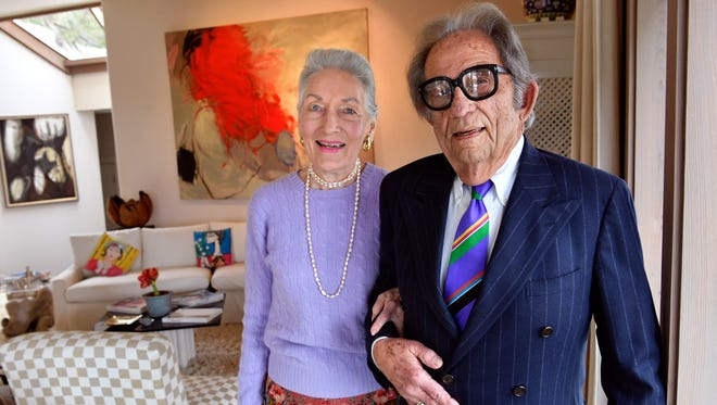 Portia and S.M. Moore Jr. pose at their Abilene home Feb. 22. On Saturday, the Abilene Philharmonic will honor Portia as Grande Dame and her husband as Noble Gold at its Gold Medallion Ball.