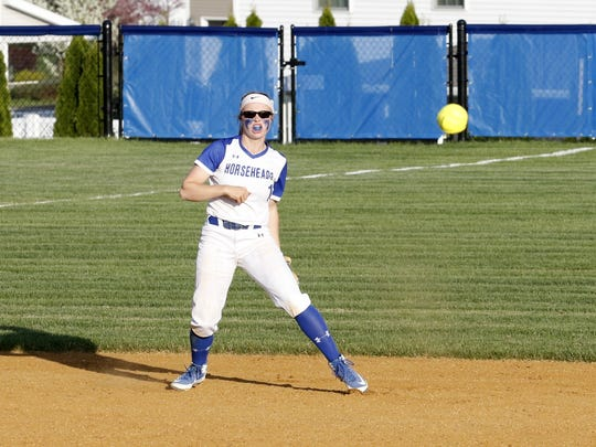 Horseheads shortstop Kendal Cook throws to first for