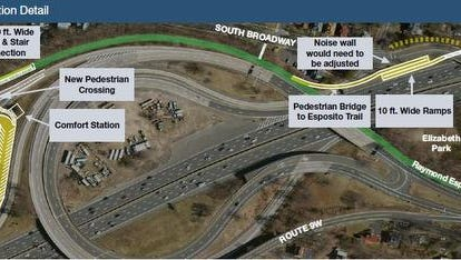 South Nyack is lobbying the state to use Interchange 10 off the Thruway as the terminus for the bike-walking path that will open on the new Tappan Zee Bridge in 2018. But the state says the plan's nearly $10 million cost is too expensive.
