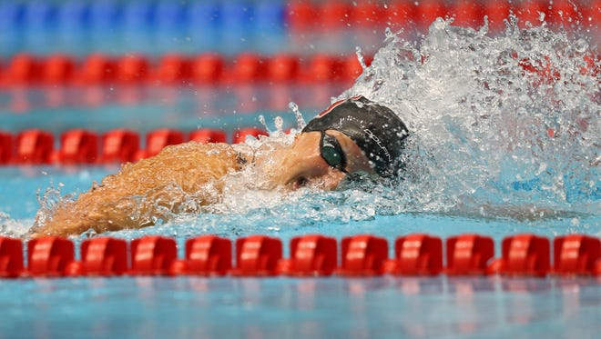 Katie Ledecky competes in the women's 800 freestyle final during the 2017 USA Swimming Phillips 66 National Championships at Indiana University Natatorium  on June 27.