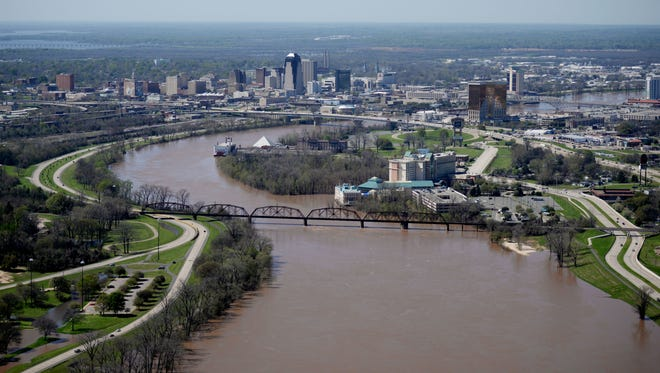 The Red River south of downtown Shreveport on Monday afternoon.