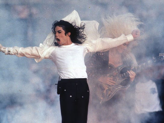 Michael Jackson performing during the halftime show