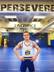 SDSU wrestling standout Seth Gross Wednesday, Feb. 14, at South Dakota State University in Brookings. Gross is ranked number one in his weight class as a returning NCAA finalist.