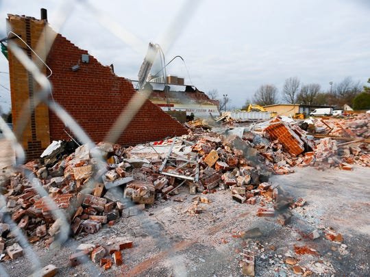 Crews are demolishing the old Downtown Market on Campbell Avenue on Thursday, March 23, 2017. The Housing Authority of Springfield is planning to build a administration building where the market stood for more than 70 years.