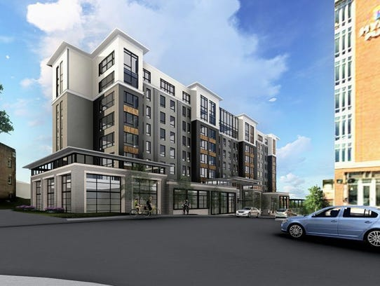A view of the proposed Embassy Suites looking southwest