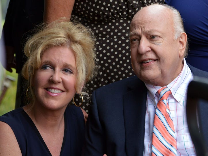 Roger Ailes, right, and his wife, Elizabeth, attend