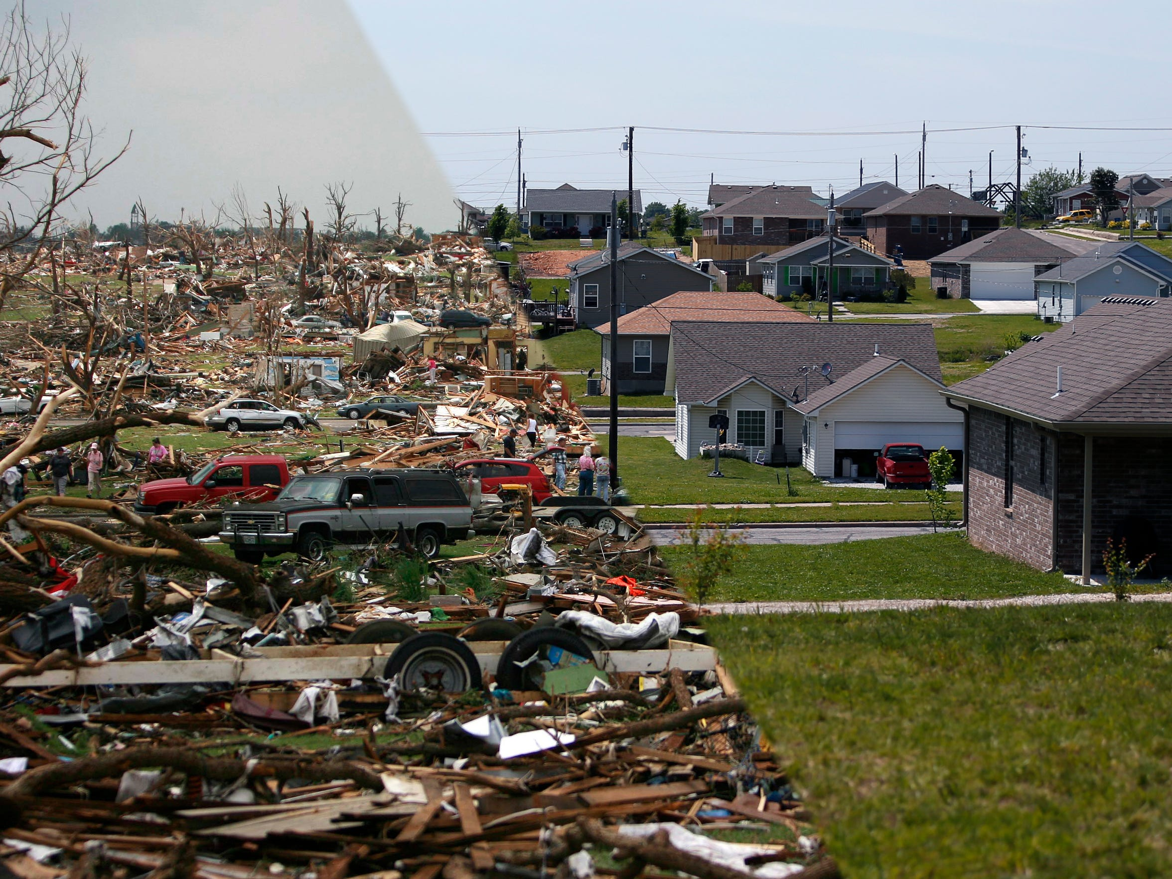 In this composite photo the same area was photographed shortly after the 2011 Joplin Tornado and on the right is show five years later.