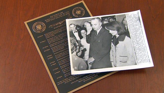 A plaque in the tarmac at Dallas Love Field will commemorate the precise spot where Lyndon Johnson was sworn in as president Nov. 22, 1963.