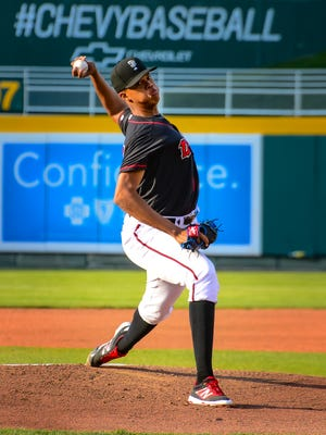 Lansing Lugnuts pitcher Angel Perdomo is part of the World roster for Sunday's SiriusXM All-Star Futures Game.