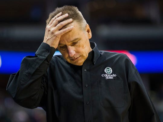 CSU men's basketball coach Larry Eustachy reacts during the second half of the Rams' 89-70 loss Dec. 17 to Kansas State at the Pepsi Center in Denver. He's forced to finish the season with seven eligible players.