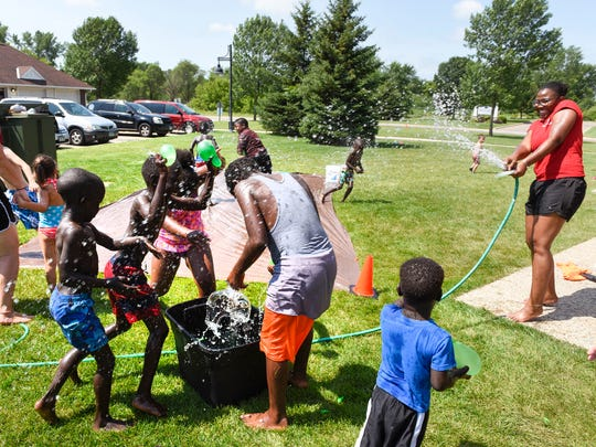 A water balloon fight was a highlight of the Yes Network visit  Wednesday, July 20, at  Westwood Village Apartments. The program offers lunch and games.
